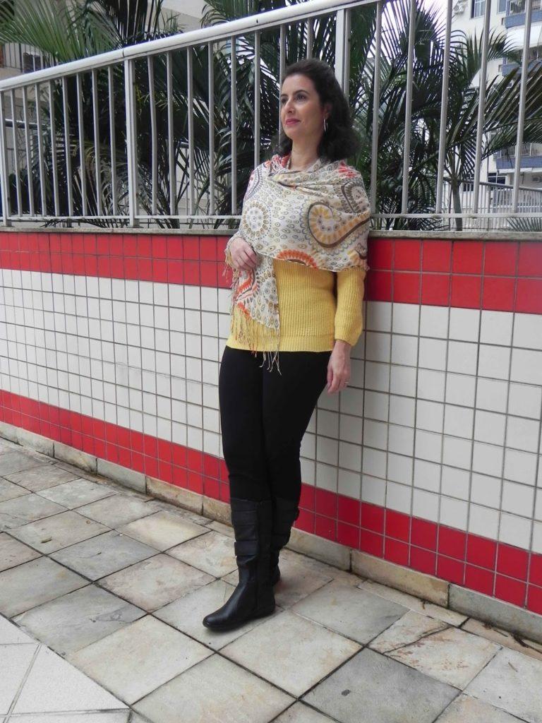 Legging preta tricot amarela 1