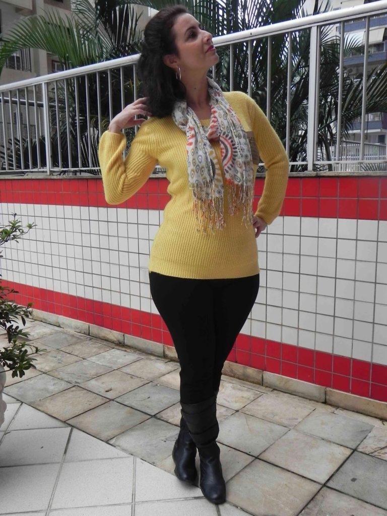 Legging preta tricot amarela 3