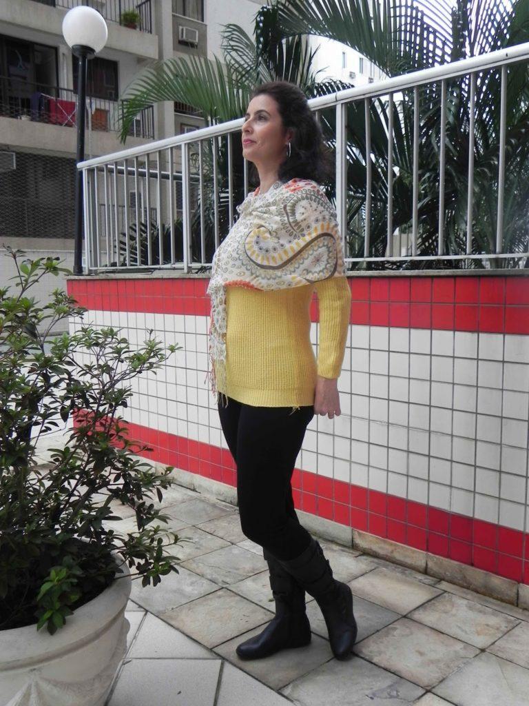 Legging preta tricot amarela 4