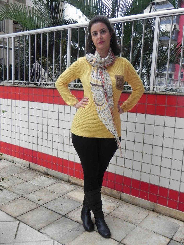 Legging preta tricot amarela 5