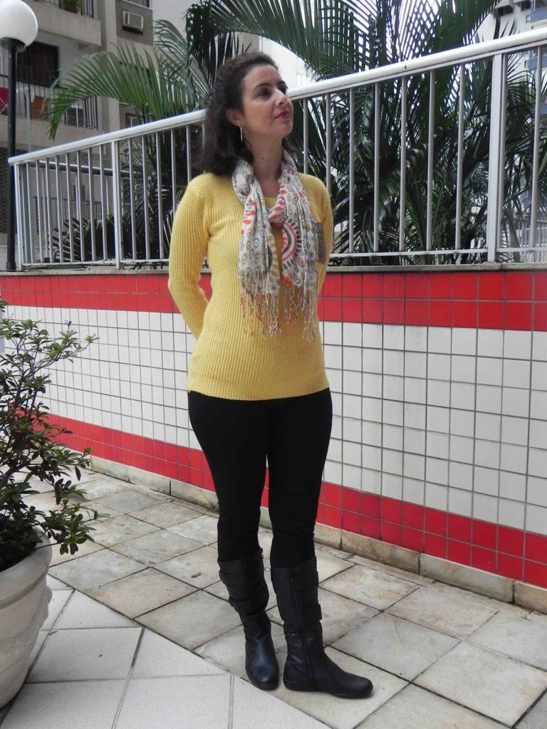 Legging preta tricot amarela 6