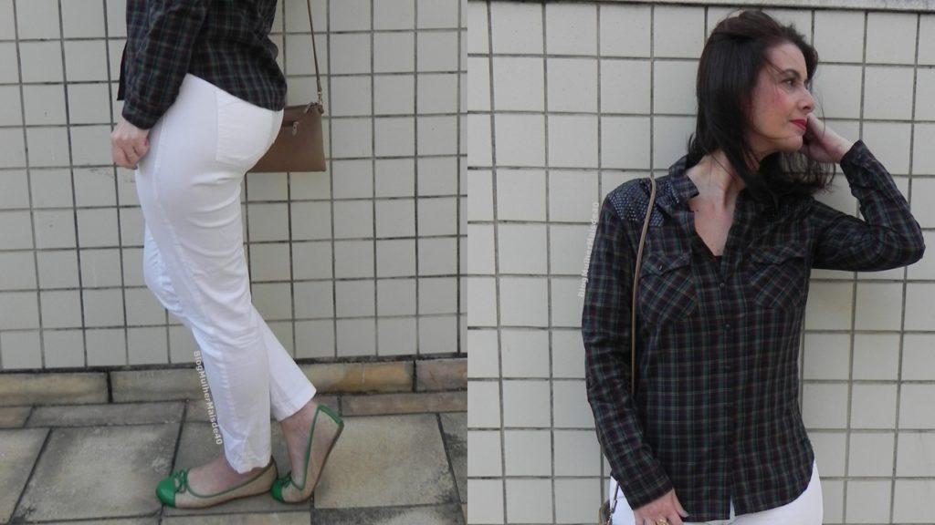 calça branca camisa quadriculada 7