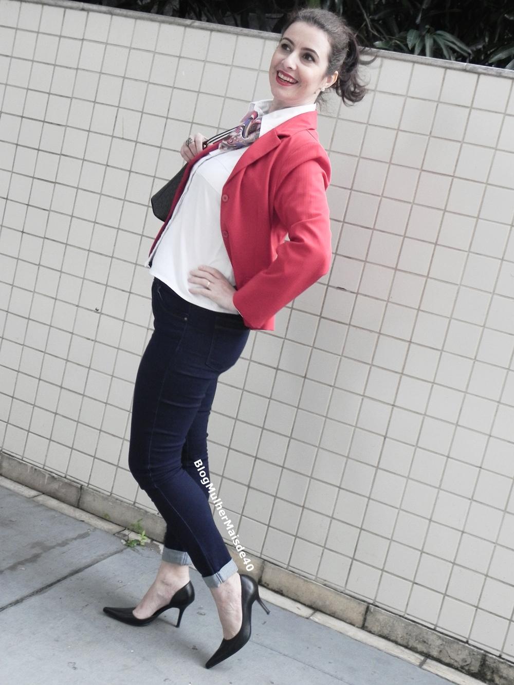 calça jeans blazer vermelho 2