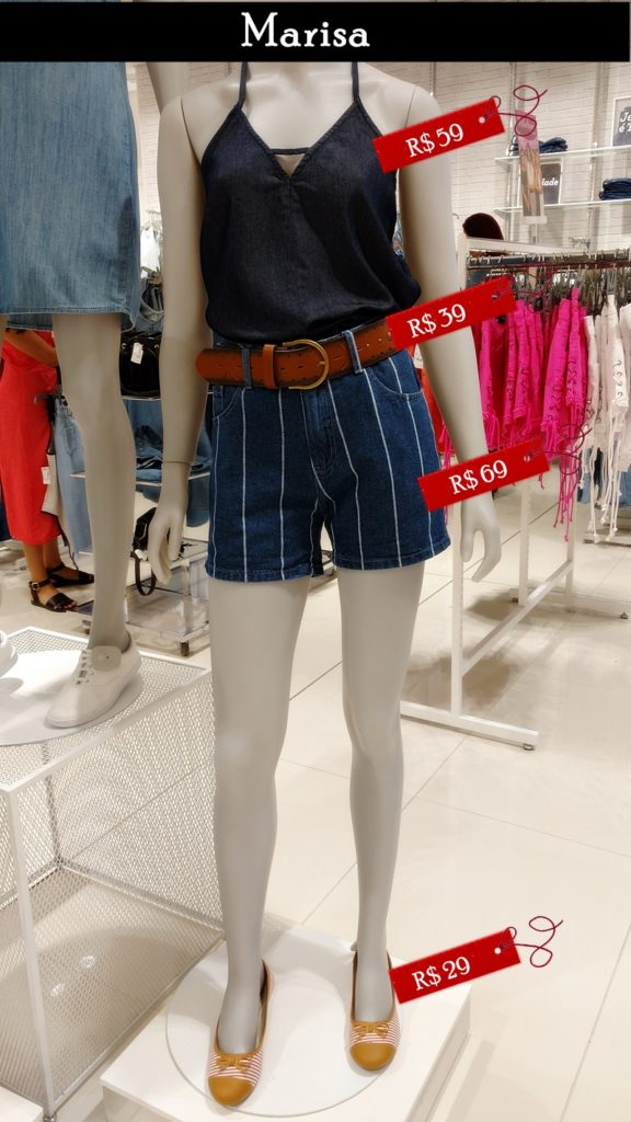 Blusa e short jeans da Marisa, vitrine janeiro 2017