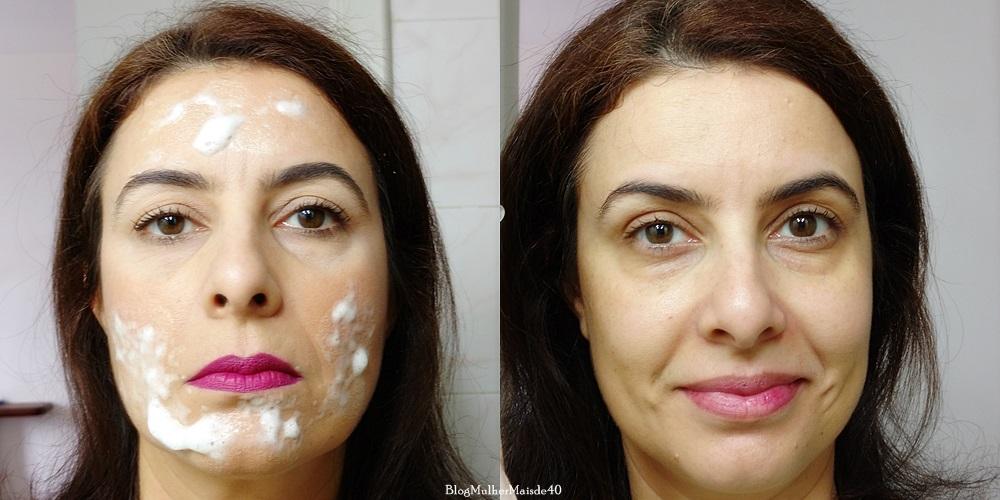 comparativo do rosto com make e apos utilizar o mousse makeup remover da aspelle