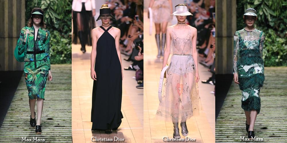 lindas viseiras nas passarelas de Christian Dior e Max Mara