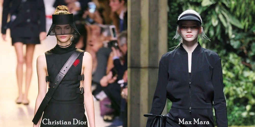 viseiras nas passarelas de Christian Dior e Max Mara