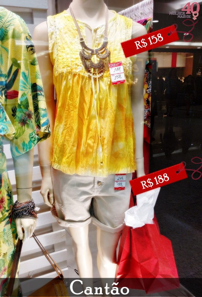 Vitrine da Cantão com bermuda bege e bata tie dye amarela