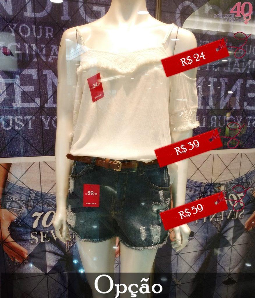 Vitrine Opção Jeans com blusa branca e short jeans