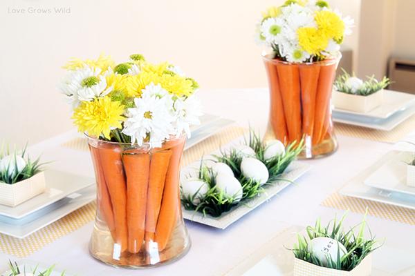 Mesas de Páscoa com cenouras e flores
