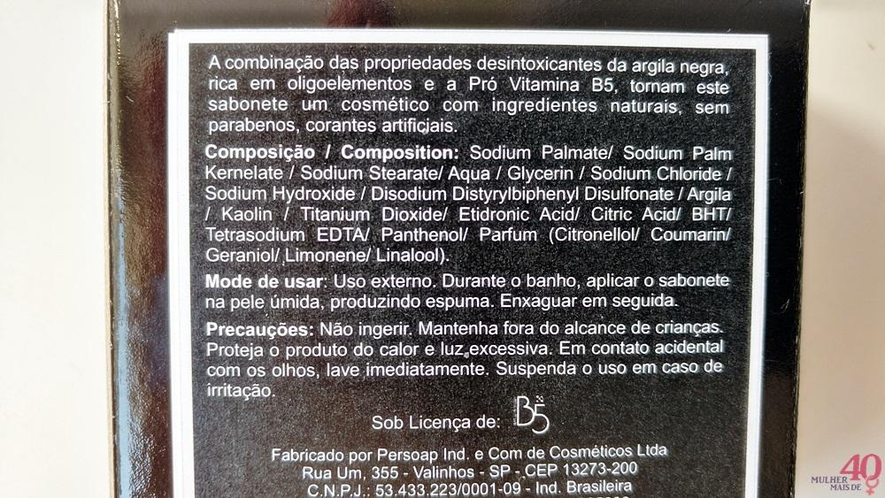Sabonete de argila negra B5 Cosméticos descrição