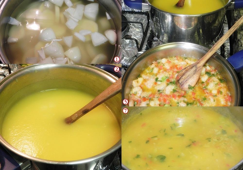 Sopa de batata baroa com camarão modo de fazer