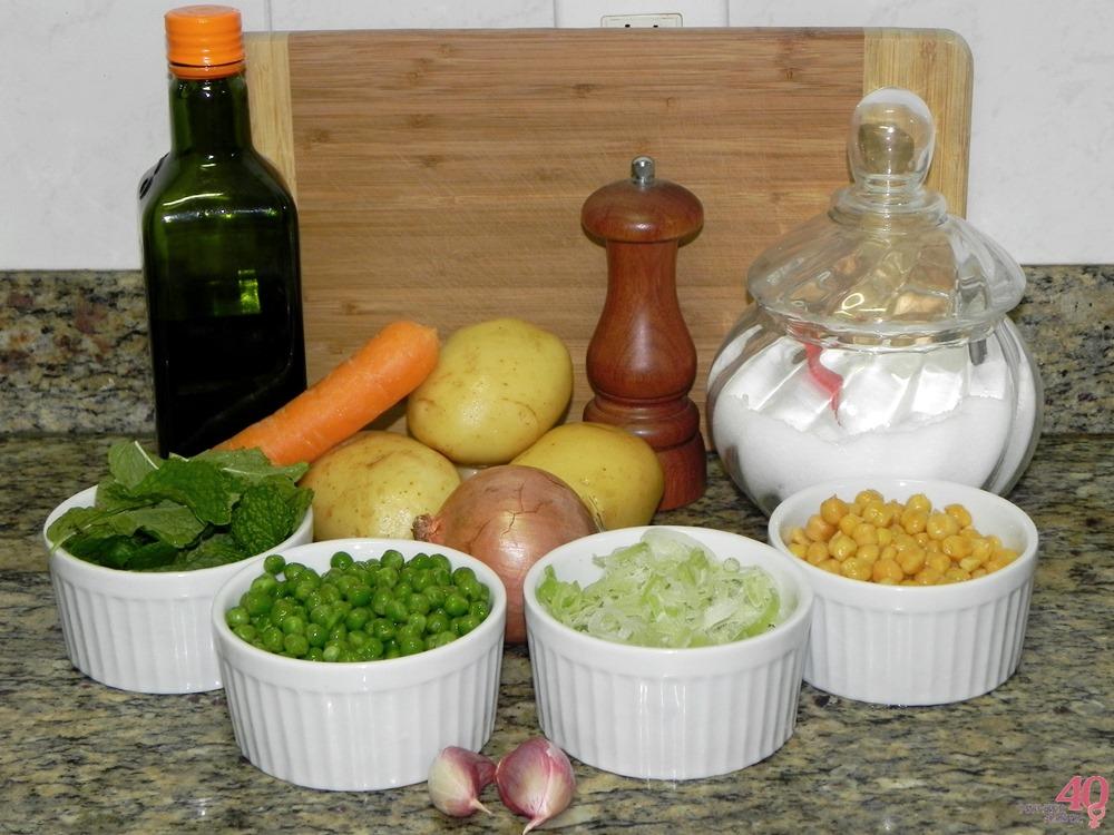 Sopa de Grão de Bico todos os ingredientes