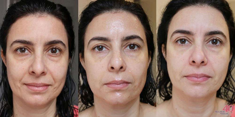 Máscara Mineral Vichy Efeito Peeling aplicação antes, durante e depois