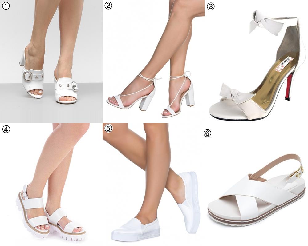 calçados brancos - sandálias para a primavera