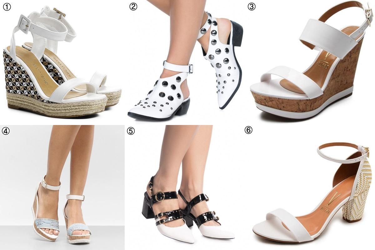 calçados brancos - sandálias com detalhes