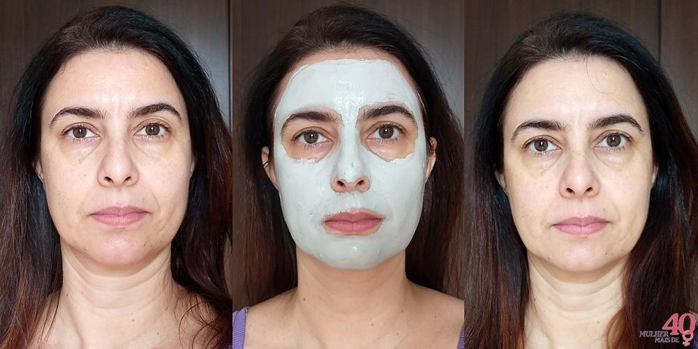 Máscara Mineral Vichy Argila Purificante antes durante e depois