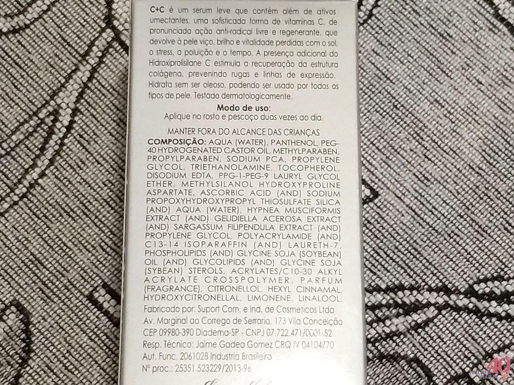 Serum facial anti-idade detalhes da embalagem