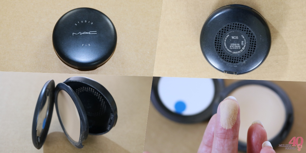 Base em pó para pele madura - Studio Fix MAC embalagem e textura